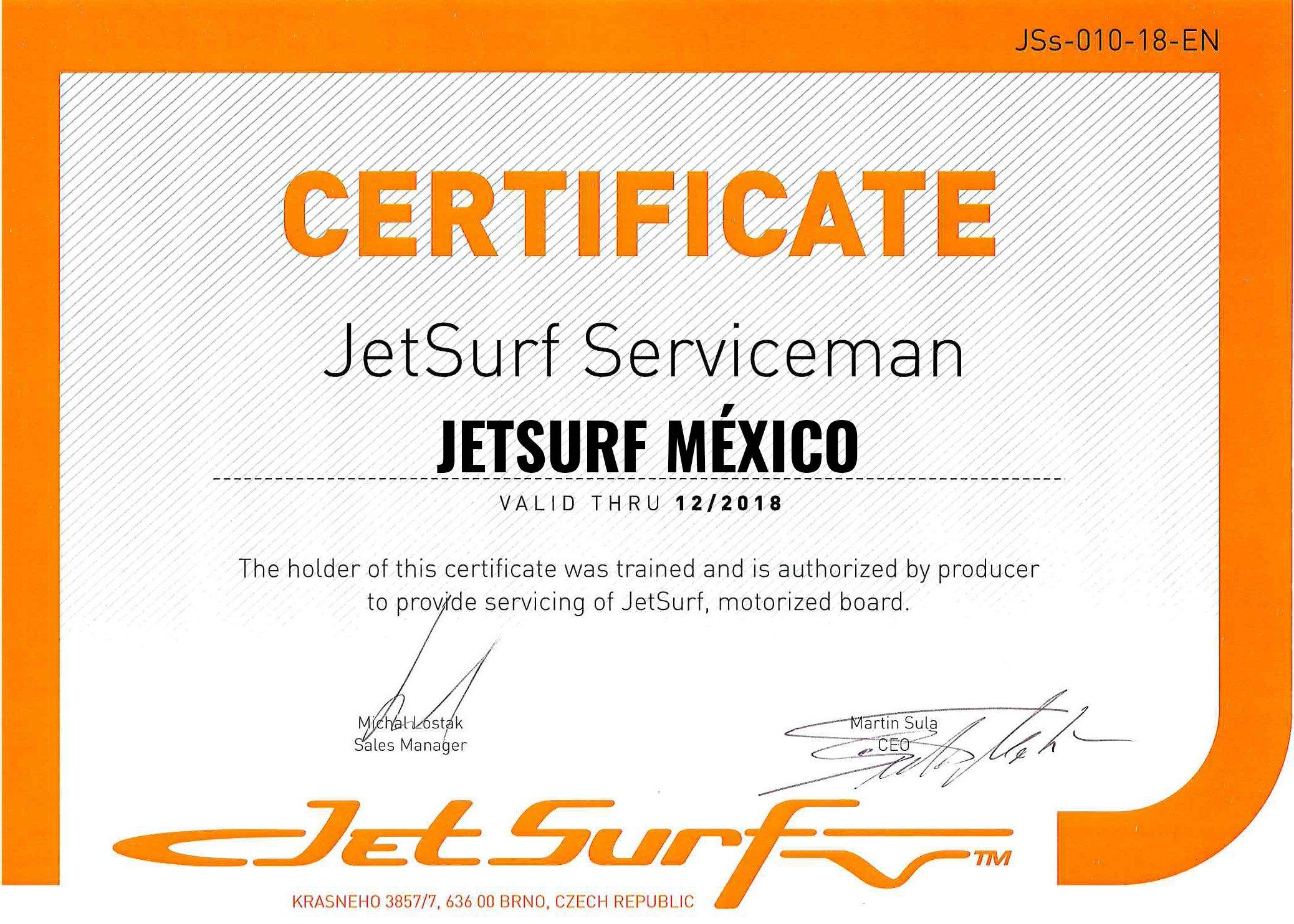 certificado jetsurf serviceman centro de servicio