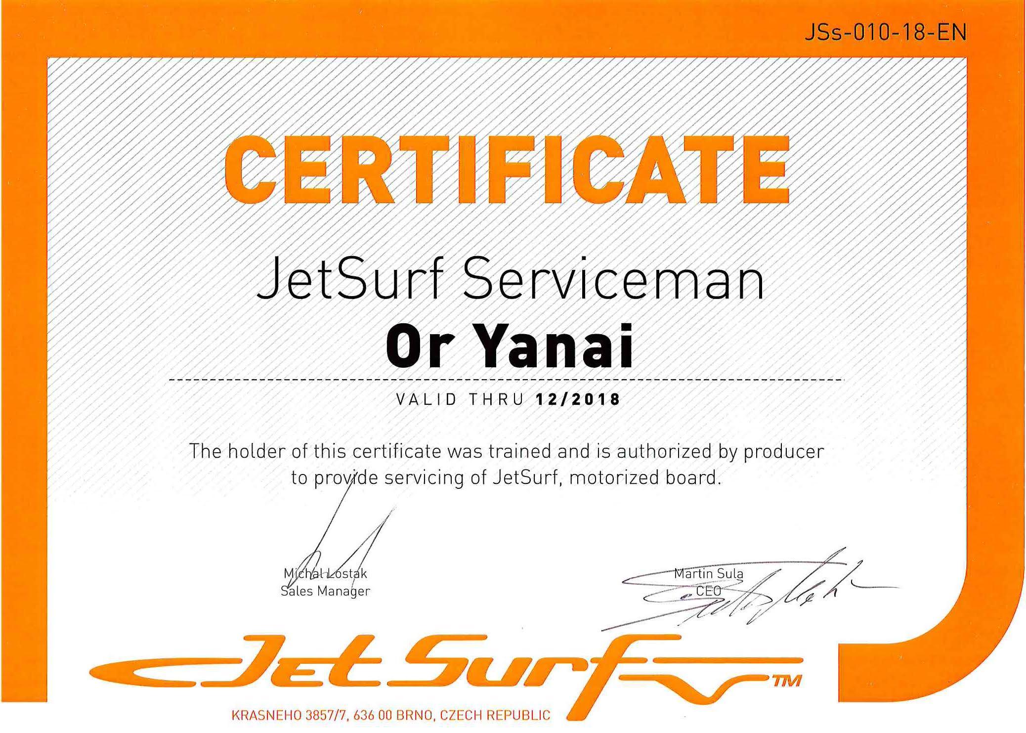certificado jetsurf serviceman or yanai